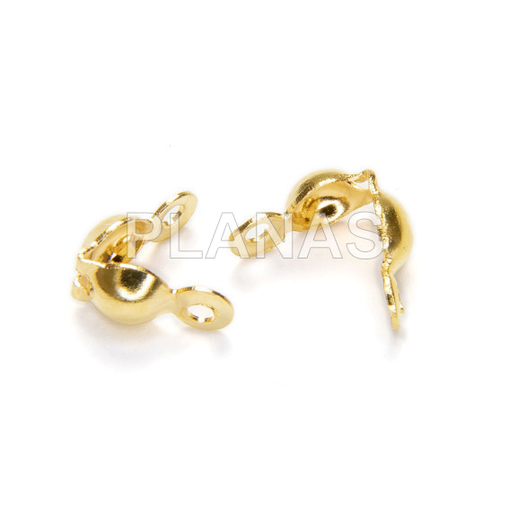 Knots cover in stainless steel and gold bath. 14x3mm.