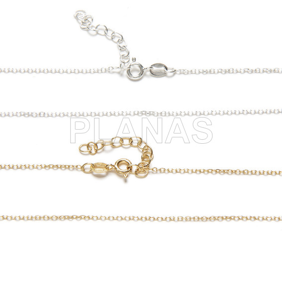 030 forced chains in sterling silver. 38 + 4cm.