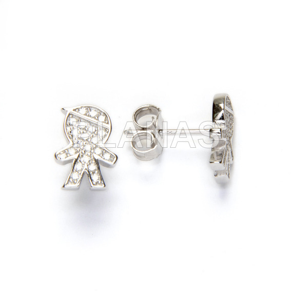 Earrings silver and zircons