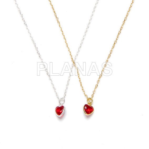 Necklace in sterling silver and red zirconia. heart.