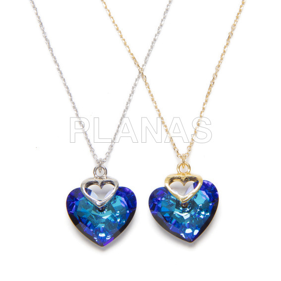 Necklace in rhodium sterling silver and bermuda blue heart from swarovski.