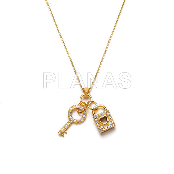 Necklace in sterling silver and gold bath. key and padlock.