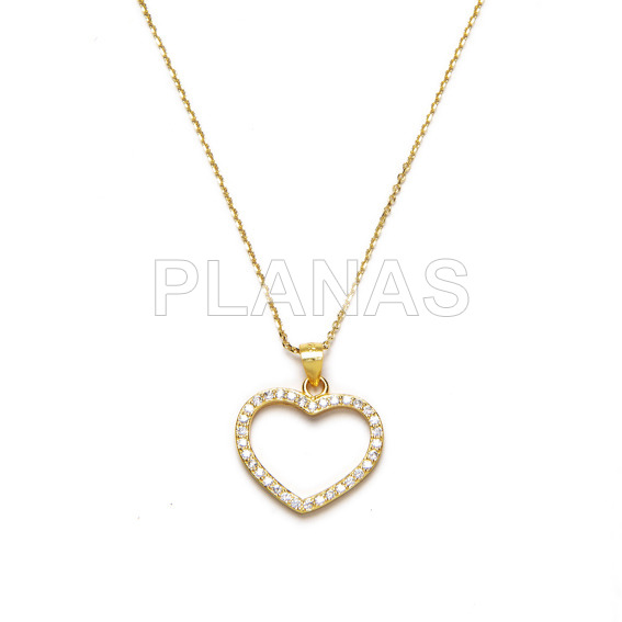 Sterling silver and gold bath necklace. heart.