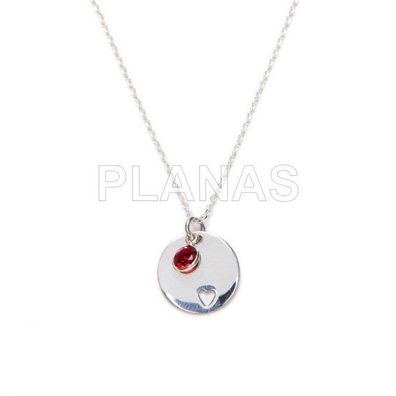 Sterling silver and red zirconia necklace. heart.