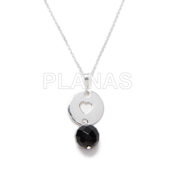 Sterling silver necklace and 10mm faceted onix ball heart.