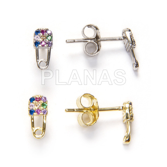 Earrings in rhodium sterling silver and colored zircons. unmissable.