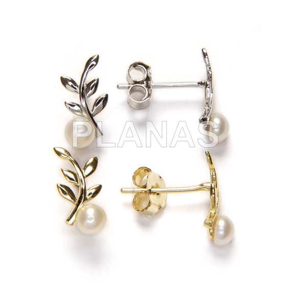 Rhodium plated sterling silver earrings with 4mm cultured pearl. twig.