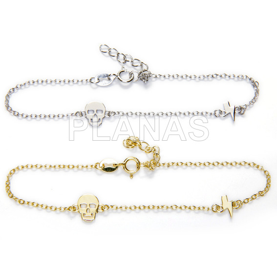 Rhodium-plated sterling silver bracelet. skull and lightning.