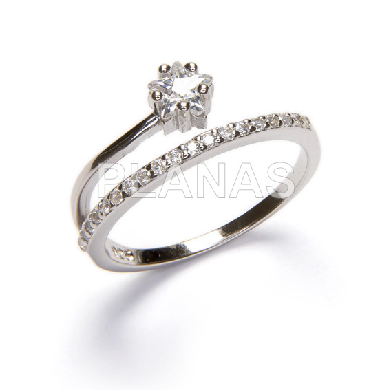 Ring in rhodium-plated sterling silver and white zircons. star.