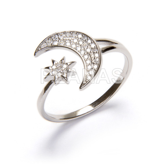 Ring in rhodium-plated sterling silver and white zircons. star and moon.