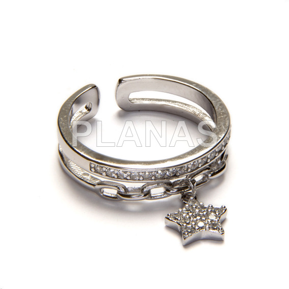 Ring in rhodium sterling silver and white zircons. star.