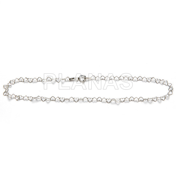 Anklet in sterling silver. hearts.