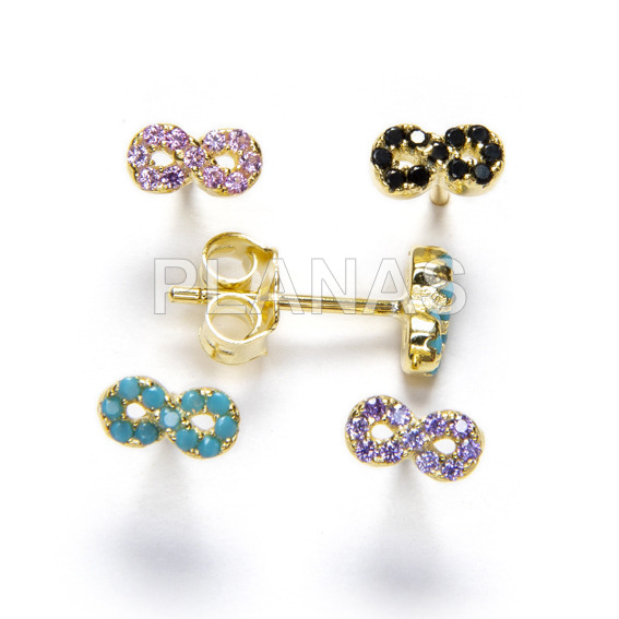 Earrings in sterling silver and gold bath with zircons. infinite.