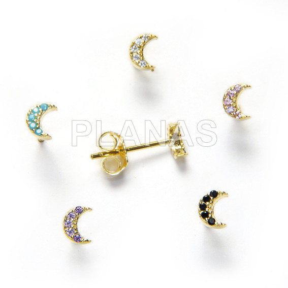 Earrings in sterling silver and gold bath with zircons luna.