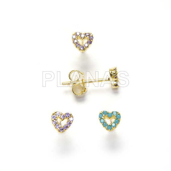 Earrings in sterling silver and gold bath with zircons. heart.