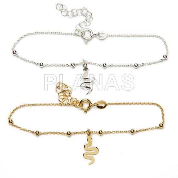 Sterling silver bracelet. snake.
