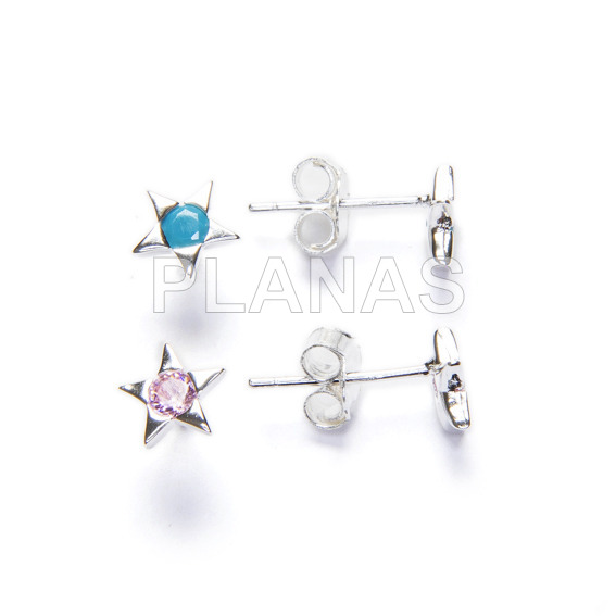 Earrings in sterling silver and zirconia. star.