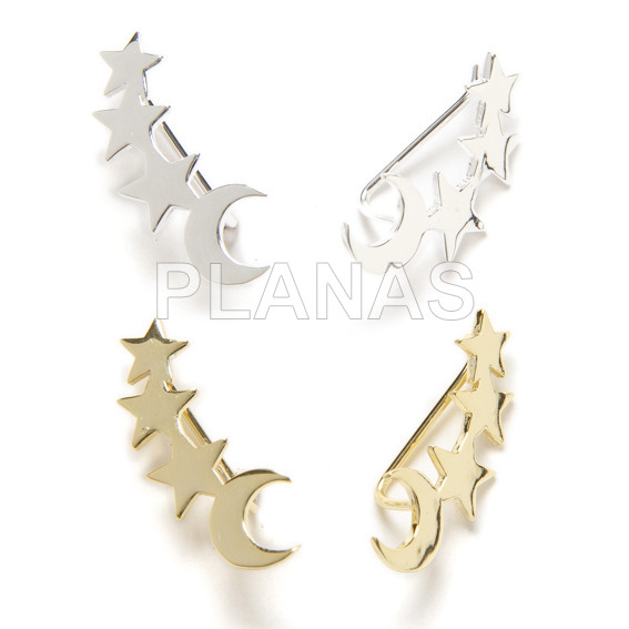 Climbing earrings in sterling silver, stars and moon.