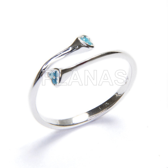 Ring in rhodium sterling silver and blue zircons. heart.