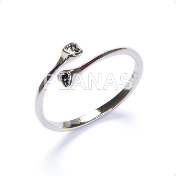 Ring in rhodium sterling silver and black zircons. heart.