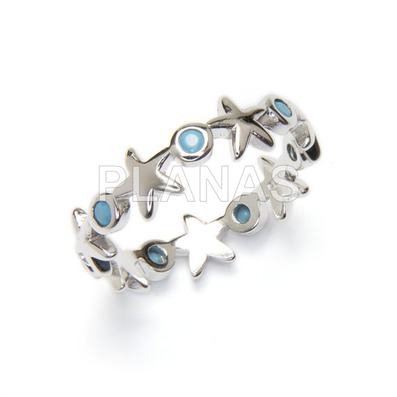 Ring in rhodium sterling silver and blue zircons. sea stars.