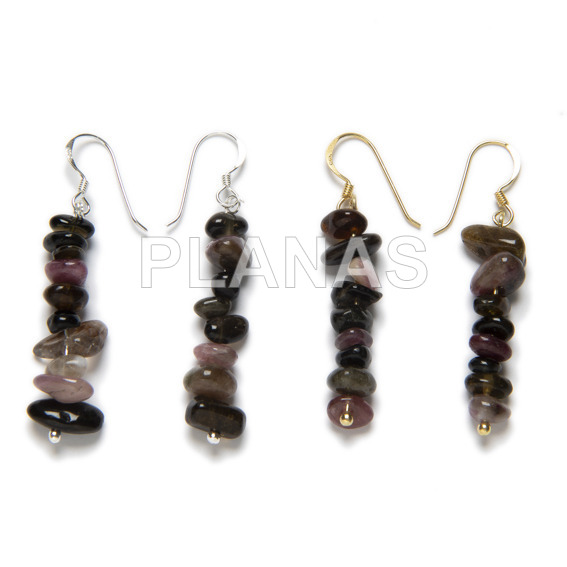 Earrings in sterling silver and tourmaline.