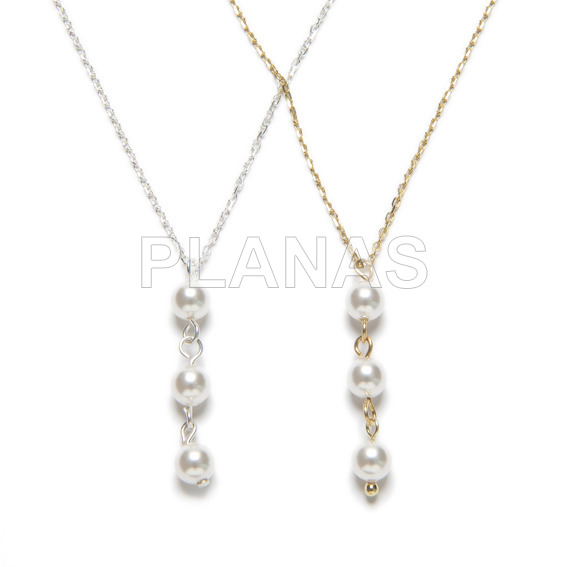 Necklace in sterling silver and 5mm swarovski pearls.