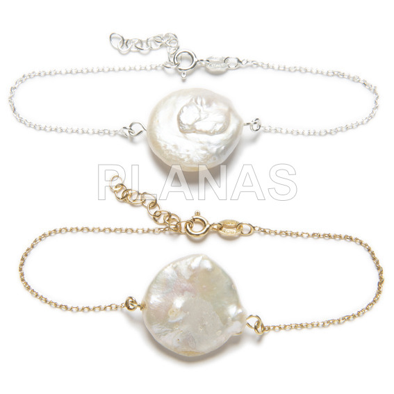 18mm cultured pearl sterling silver bracelet.