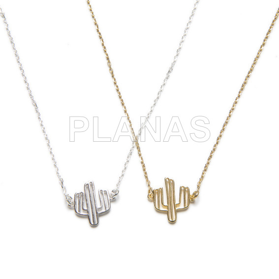 Sterling silver necklace .cactus.