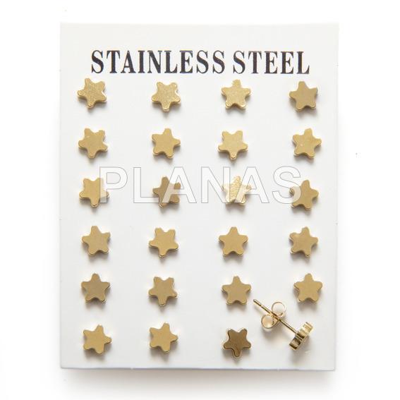 59419e5072e7 Pack de 12 pares de Pendientes en Acero Inoxidable y Baño Oro.ESTRELLA.