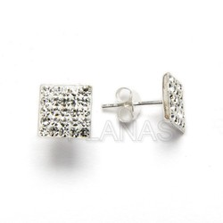 Silver and crystal square earring 8x8mm