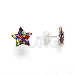 Earring silver and crystal, star