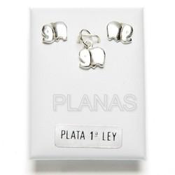 Conjunto Elefante,en Plata de ley, Pendientes y Colgante.