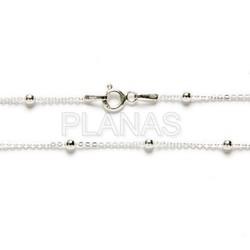 Cadenas Forzada y Bolitas Diamantadas de 2,5mm en Plata de Ley.