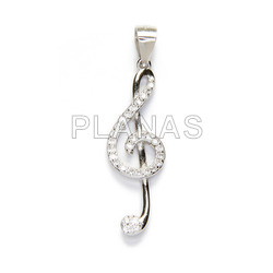 Pendant in sterling silver and zircons.