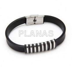 Bracelet rubber and stainless steel.