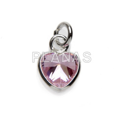 Mini pendant in sterling silver and zircons 5mm.