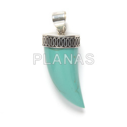 Pendant in sterling silver and turquoise