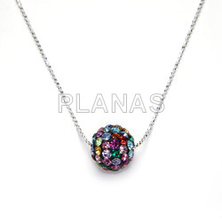 Silver and Crystal pendant 12mm.