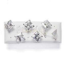 Zirconia square flat display 6 pairs silver