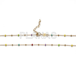 Necklace in sterling silver and gold bath with colored enameled balls.