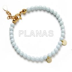 Bracelet in sterling silver and swarovski pearls. white color.