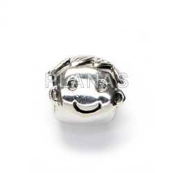 Charm in sterling silver, snake.