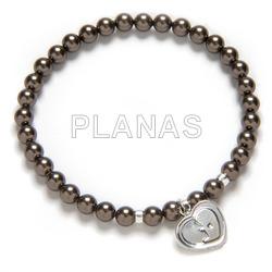 Elastica bracelet swarovski pearls and silver