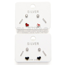 Set of 3 pairs of earrings in rhodium sterling silver and zircons. squares.