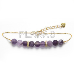 Sterling silver / gold plated bracelet with 6mm glazed amethyst and zircons.
