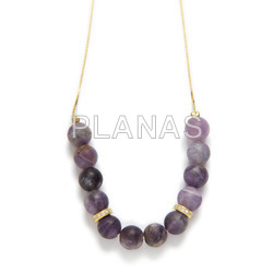 Necklace in sterling silver and gold bath with glazed amethyst and zircons.