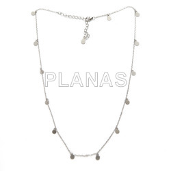 Sterling silver plated necklace with 5mm inserts.