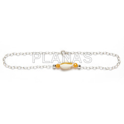 Adjustable sterling silver anklet or bracelet with shell and colored balls.