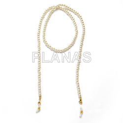 6mm crystal pearl mask holder finished in sterling silver and gold plated with included accessory for glasses.